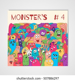 Poster with doodle monsters. Colorful print on a magazine cover