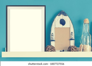 Poster frame mock up template with summer home decor on wooden table