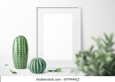 Poster frame mockup, front view, with decor elements, flowers and blank copy  space on white background.