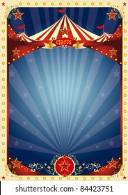 poster fun circus. A background with a large copy space and a big top for your message.
