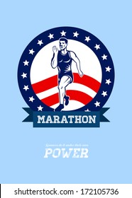 Poster greeting card illustration showing a Marathon road runner jogger fitness training road running with American stars and stripes in background with words Runners do it under their own power.