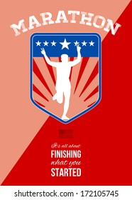 Poster greeting card illustration showing a silhouette of Marathon runner flashing victory sign done in retro style in shield with words Marathon, it's all about finishing what you started.