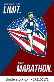 Poster greeting card illustration showing American marathon triathlete runner running with mountains and stars and stripes done in retro style with words Push yourself to the limit, Run the Marathon.