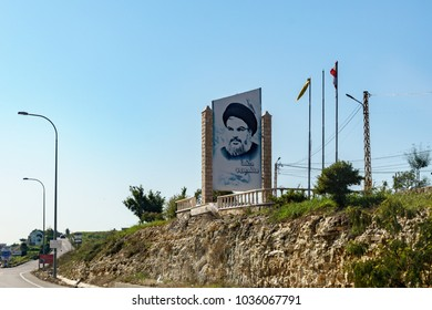 Poster of Hassan Nasrallah in the road of the Baalbek bekaa valley lebanon 3 february 2018