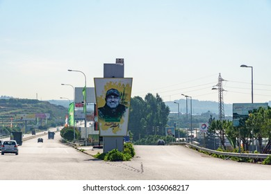 Poster of a Hezbollah fighter who died in the war  with israel in the road of the Baalbek bekaa valley lebanon 3 february 2018