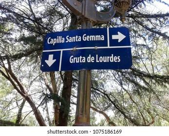 Poster indicating Santa Gemma Chapel, Tandil Buenos Aires Argentina May 10, 2017
