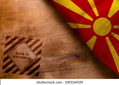 Poster made in Macedonia on a wooden background