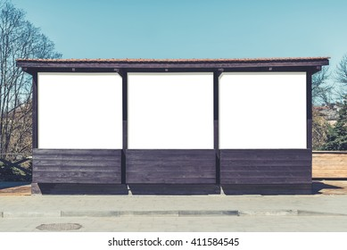 Poster mock up of street market empty wooden stall on sidewalk. Vintage effect filter style