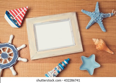 Poster mock up template with summer decorations. View from above