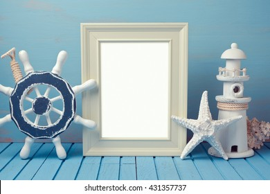 Poster mock up template with summer home interior decorations
