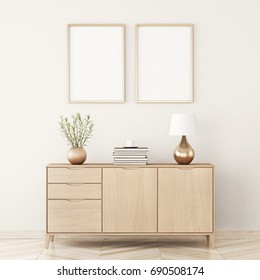 Poster mock up with two frames composition in living room interior. 3D rendering.
