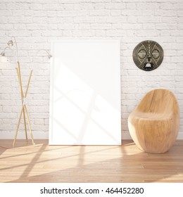 Poster Mock-UP In Contemporary Interior With Floor Lamp And Chair