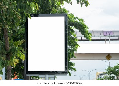 Poster Mockup Template in Bangkok, Blank space with clipping path
