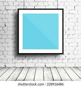 Poster mockup template with black frame on brick wall