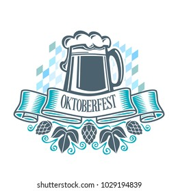 Poster for Oktoberfest with mug of beer and blue ribbon with word octoberfest on bavarian rhombus background.
