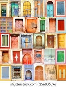 poster from old  doorways with colorful colors