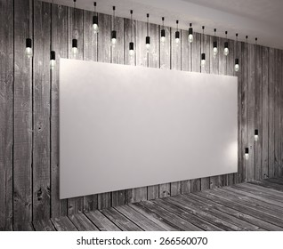 Poster  on wooden wall  with retro lamps. 3D illustration