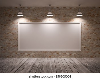 Poster in room on a brick wall with lamps & frame