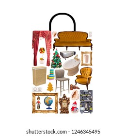 Poster of shop bag combined of many isolated items. Shopping and consumering concept