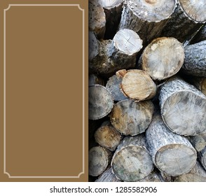 Poster sign with wood pile and blank copy space