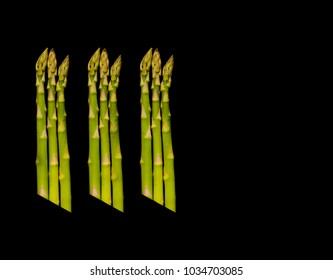 Poster Size Tri-Asparagus on Pure Black Background.
