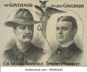 Poster for Theodore Roosevelts campaign for Governor of New York State. He returned converted his popularity as a Spanish American War hero to votes and won the election in Nov. 1898