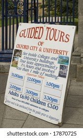 Poster for tours of Oxford university and city centre