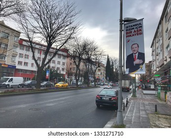 A poster for Turkey's President Tayyip Erdogan's election campaign in Istanbul, Turkey on Mar. 5, 2019