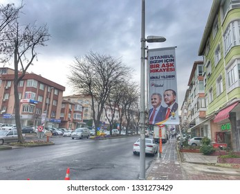 A poster for Turkey's President Tayyip Erdogan's and Binali Yildirim election campaign in Istanbul, Turkey on Mar. 5, 2019