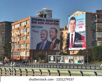 A poster for Turkey's President Tayyip Erdogan's, Binali Yıldırım and Ekrem Imamoglu election campaign in Istanbul, Turkey on Mar. 5, 2019