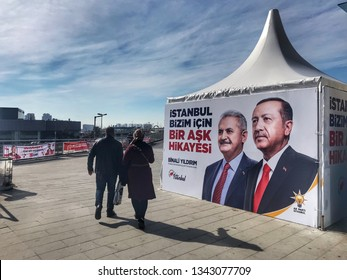 A poster for Turkey's President Tayyip Erdogan's and Binali Yildirim election campaign in Istanbul, Turkey on Mar. 15, 2019