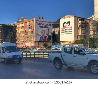 A poster for Turkey's President Tayyip Erdogan's, Binali Yıldırım election campaign in Istanbul, Turkey on April 2, 2019