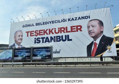 A poster for Turkey's President Tayyip Erdogan's and Binali Yildirim election campaign in Istanbul, Turkey on April 6, 2019.