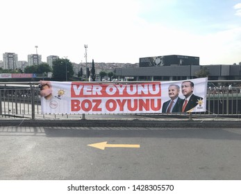 A poster for Turkey's President Tayyip Erdogan's and Binali Yildirim election campaign in Istanbul, Turkey on June 19, 2019. Municipal elections in Istanbul