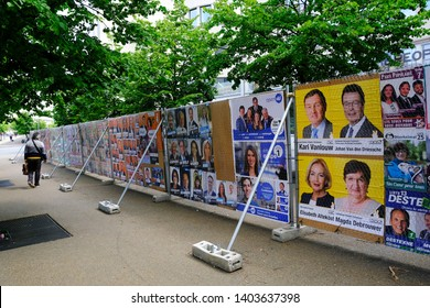 Posters of election campaign for upcoming federal and european elections in Brussels, Belgium on May 21, 2019.