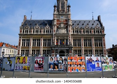 Posters of election campaign for upcoming federal and european elections in Brussels, Belgium on May 22, 2019.
