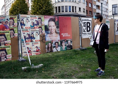 Posters of election campaign for upcoming municipal elections in Brussels, Belgium on Oct. 6, 2018
