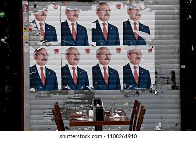 Posters of a Republican People's Party (CHP) in buildings of Istanbul, Turkey on May 29, 2015.