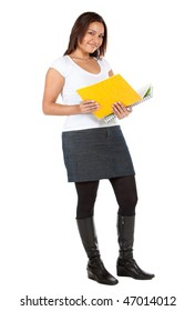 Postgraduate female student with a notebook - isolated