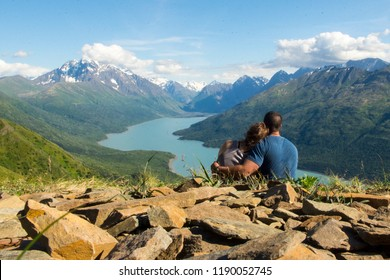Post-Hike Cuddles Overlooking Eklutna Lake in Alaska