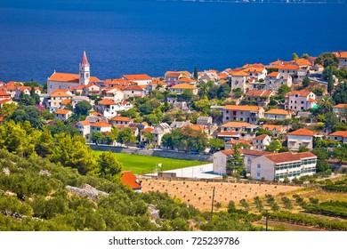 Postira on Brac island skyline view, Dalmatia region of Croatia
