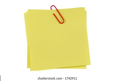 Post-It Note and Clip. Isolated on White with Clipping Path