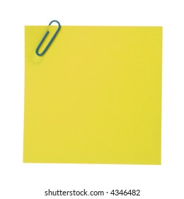 Post-It Note & Clip. Isolated [with clipping path]