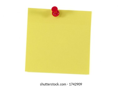 Post-It Note and Push Pin. Isolated on White with Clipping Path