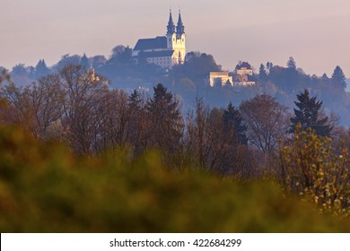Postlingbergkirche in Linz seen at sunrise. Linz, Upper Austria, Austria.