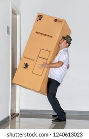 The postman carries a big package with refrigerator. The mail service carries a large shipment with fridge to the apartment.