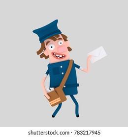 Postman delivering letter  .3d illustration.