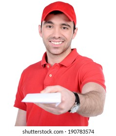 A postman delivering mail isolated on white background