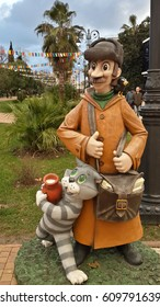 Postman with funny cat, heroes of famous Russian cartoon, sculpture in the square, Sochi, Russia, December 14, 2016