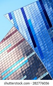 """Postmodern architecture detail from Westin hotel at Times Square, 43rd street / 8th ave, New York. It was the first completed New York project by Arquitectonica and criticized as being  """"Miamero""""."""